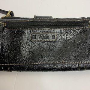 Relic   Black Floral Etched Pleather Wallet Bag